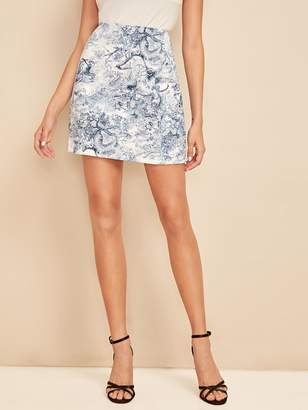 Shein Ink and Wash Print Zip Back Skirt