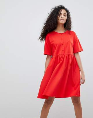 Asos DESIGN button front short sleeve smock dress