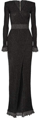 Balmain Wrap-effect Metallic Ribbed Stretch-knit Gown - Black