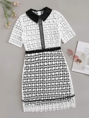 Shein Guipure Lace Geo Collar Dress