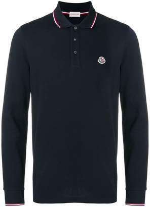 Moncler long sleeve logo polo shirt