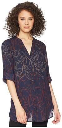 Tahari ASL Tunic 3/4 Sleeve Blouse Women's Clothing