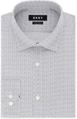 DKNY Men's Slim-Fit Stretch Gray Print Dress Shirt