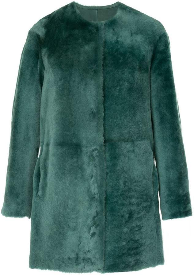 Desa 1972 collarless shearling coat