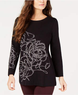 Alfani Petite Metallic Graphic Sweater