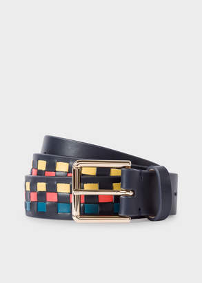 Paul Smith Men's Navy Woven Check Leather Belt