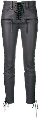 Unravel Project lace-up leather trousers