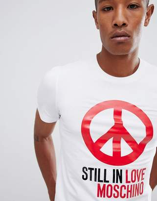 Love Moschino t-shirt with peace logo in white