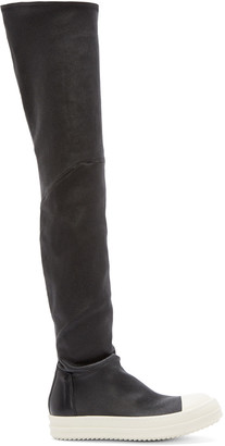 Rick Owens Black Thigh-High Sock Sneakers $2,225 thestylecure.com