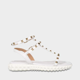 Valentino Free Rockstud Sandals in White Calfskin and Metal