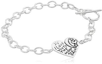 "Sterling ""I Love You To The Moon and Back"" Heart Toggle Bracelet"