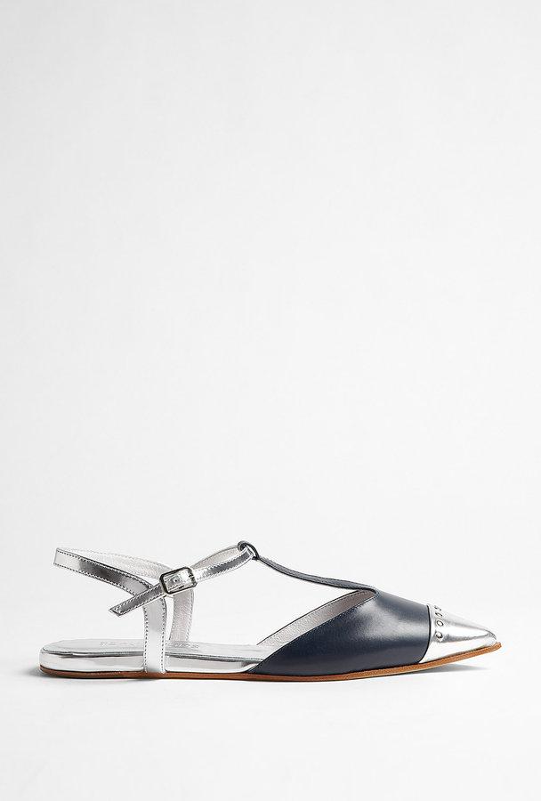 Beau Coops Argento Coton T Bar Flat Sandal