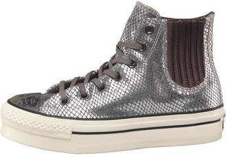 Converse Womens CT All Star Hi Platform Snakeskin Chelsea Trainers Metallic/White