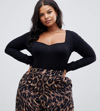 Asos DESIGN Curve body with long sleeves and sweetheart neck in black
