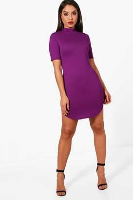 boohoo Kareena Ribbed Curved Hem Bodycon Dress