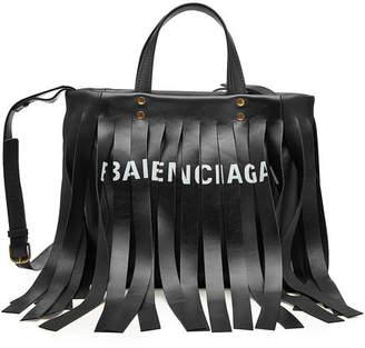 Balenciaga Logo Fringed Leather Tote
