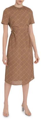 Rokh Check Gathered Open-Waist Midi Dress