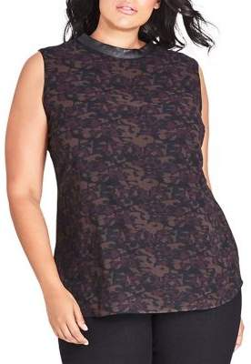 City Chic Plus Sleeveless Camouflage Top