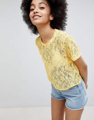 Monki Lace T-Shirt