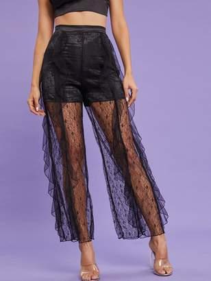 Shein Ruffle Trim Sheer Lace Pants