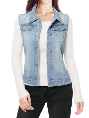 Allegra K Ladies Buttoned Washed Denim Vest w Flap Pockets M Grey
