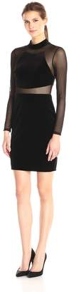 Betsy & Adam Women's Long Illusion Sleeve High Neck Velvet Dress