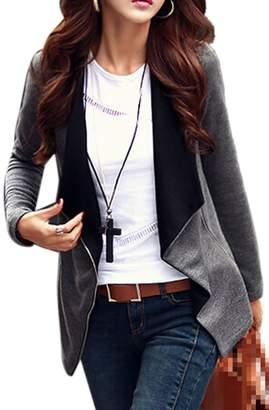 Sevozimda Women Casual Oversize Collar Zipper Lapel OL Bolero Jacket Outcoat Plus Size XXL