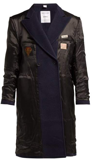 Inside Out Reversible Wool Blend Coat - Womens - Navy