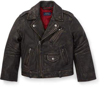 Ralph Lauren Leather Biker Jacket, Size 5-7