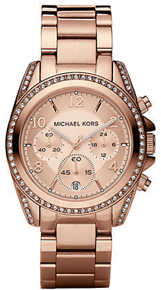 MICHAEL Michael Kors Michael Kors Blair Rose Goldtone Stainless Steel Chronograph Bracelet Watch