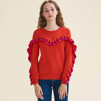 Maje Frilled jumper in wool and cashmere