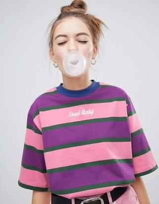 Lazy Oaf boxy striped food baby t-shirt