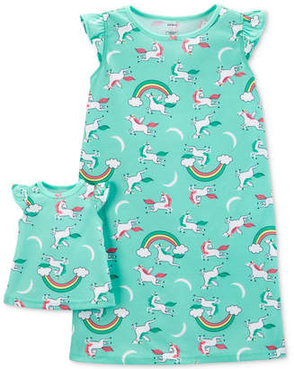 Carter's Little & Big Girls 2-Pc. Unicorn-Print Nightgown & Doll Nightgown
