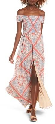 Women's Tularosa Henderson Print Off The Shoulder Maxi Dress $218 thestylecure.com