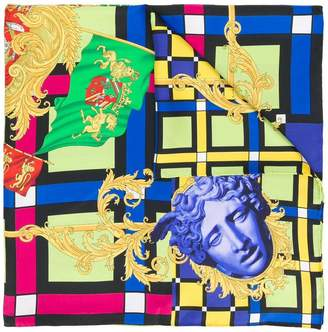 Versace colour block Medusa scarf