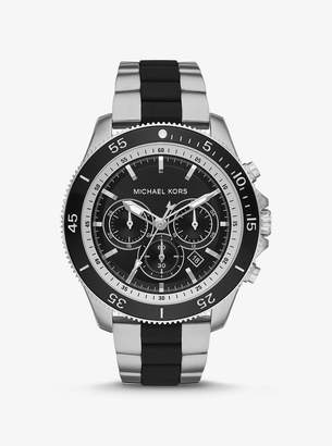 Michael Kors Oversized Cortlandt Silver-Tone and Silicone Watch