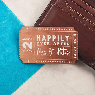 Oakdene Designs Personalised Solid Copper Couples Ticket Wallet Card