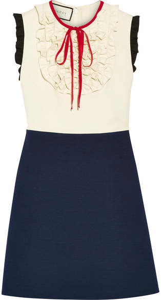 Gucci Gucci - Ruffle-trimmed Silk And Wool-blend Mini Dress - Navy