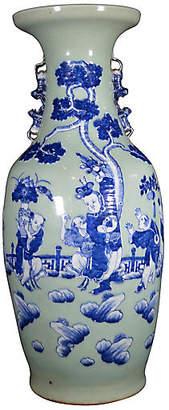 One Kings Lane Vintage Antique Blue/White Hand-Painted Vase