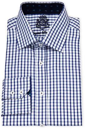English Laundry Navy & White Check Cotton Dress Shirt