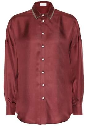 Brunello Cucinelli Embellished silk shirt