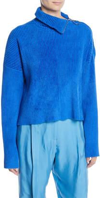 Sally LaPointe Zipper-Turtleneck Long-Sleeve Boxy Chenille Sweater