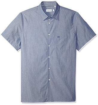 Lacoste Men's Short Sleeve Finely Striped-Poplin Slim Woven Shirt
