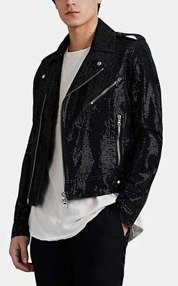 Balmain Men's Jewel-Embellished Denim Moto Jacket - Black