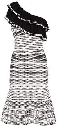 Rebecca Vallance Chiara One-shoulder Textured-knit Dress