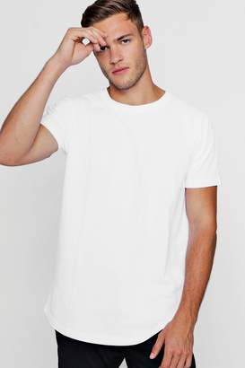 boohoo Longline Pique T-Shirt With Curve Hem