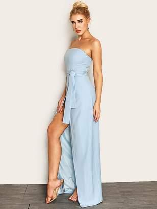 Shein Joyfunear Knot Waist Wrap Split Front Tube Dress
