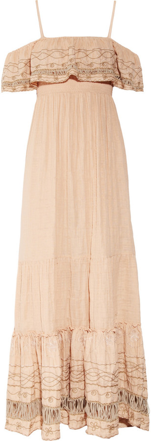 Emamó Poeme embroidered cotton-muslin maxi dress