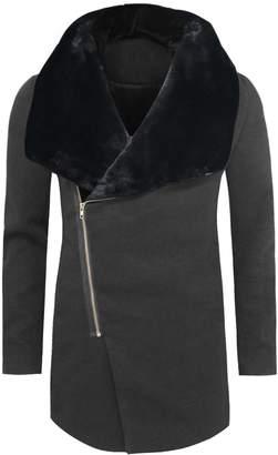 Blend of America Tom's Ware Mens Stylish Fur Large Lapels Zip-up Wool Coat TWCC11