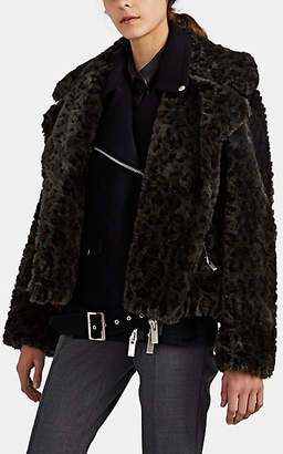 Sacai Women's Leopard-Print Faux-Fur & Wool Moto Jacket - Dk. Green